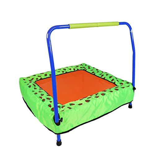 Mini Foldable Kids Trampoline Junior Children Fitness Jumper Square Trampoline with Safety Handrail and Carry Bag