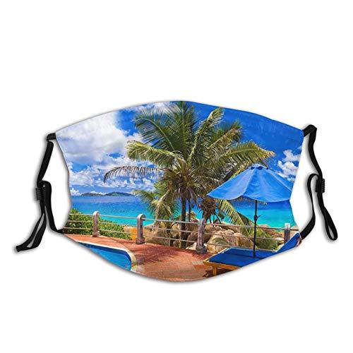 Face Mask Balaclava, Tropical Sea Uumbrella Swimming Pool Mask Bandanas With 2 Filters Reusable Adjustable For Men & Women