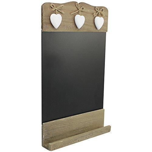 com-four® Tablero de Notas en Estilo Rústico, Pizarra para la Cocina y el Hogar de Madera con Corazones Decorativos, 38,5 x 24 cm (01 Pieza - 38,5 x 24 cm)
