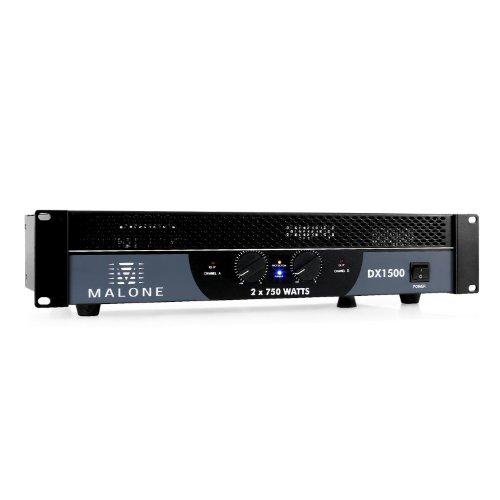 Malone DX1500 - Amplificatore PA, Ingressi RCA e Jack da 6,3 mm per Collegare Dispositivi Esterni, Adatto per Montaggio Rack a 48 cm, 2 x 750 Watt a 4 Ohm e 2 x 450 Watt a 8 Ohm, Nero