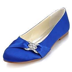 Blue Closed Rhinestones Comfort Flats Pleated Satin Shoes