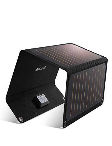 RAVPower - Cargador solar de 21 W con 2 puertos USB + 4 ojales y ganchos de acero inoxidable y 2 cables Micro-USB portátil, plegable, potente, impermeable, compatible con iPhone, Android