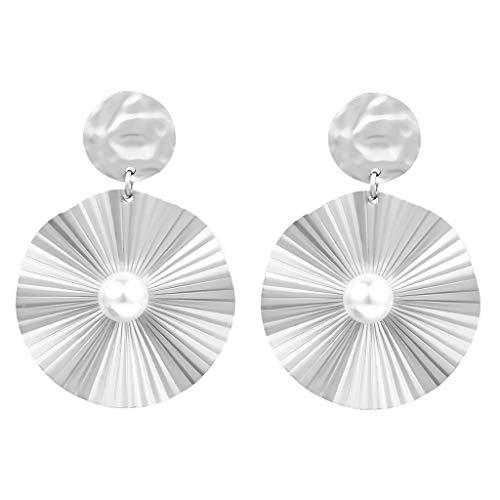UINGKID Ohrstecker Mode Einfache Stilvolle Attraktive Frauen runde Kontur gefaltete Ohrringe kreative Mikro-eingelegte Perlenohrringe