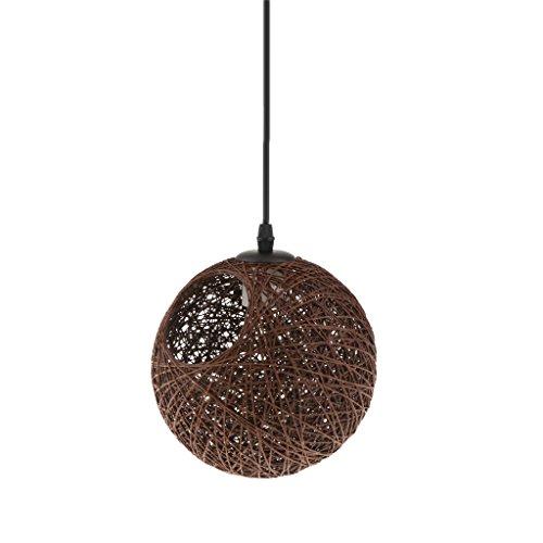 Gazechimp 20CM Lámpara de Techo Diseño con Bola con Agujero de Hierro + Bambú Rattan Accesorio Decorativo de Cafetería de Hogar - café