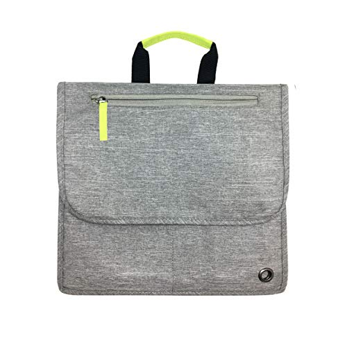 So-Mine Commuter Essential Travel Organizer Designed for Airplane or Car Backseat Pockets, The Perfect Travel Accessory, 6 Pockets, 2 Cable Loops and 1 Zip Pocket (Ash and Lime)