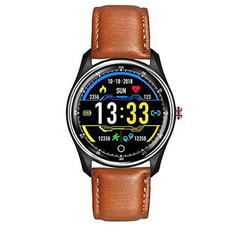 Smartwatch, IPS-Bildschirm, Bluetooth 4.0, magnetisches Laden, Gesundheitserkennung, Berechnung, Schritte, Schlafanalyse, kompatibel mit Android und iOS (Farbe: Braun)