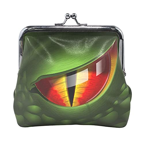 Dragon Eye Realistic 3D Image Leather Coin Purse for Women and Girls Coin Pouch with Lock Buckle Money Bag Retro Small Coin Wallet