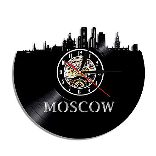 TIANZly 1 Stück Skyline Vinyl Uhr Moskau Wanduhr Stadtbild Souvenir Russland Reise Wandkunst