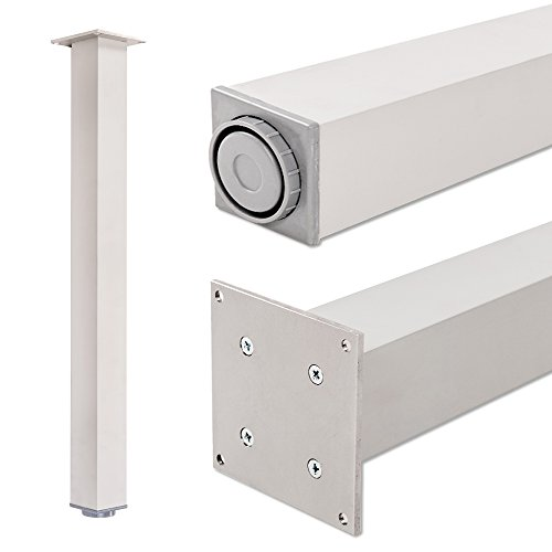 Pied de table, 100% aluminium, hauteur réglable | Sossai Exclusif E4TBAL | Profil: carré | Outils pour l'assemblage inclu | 1 pied de table | Hauteur: 82 cm (820 mm), réglable + 2 cm