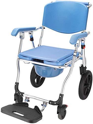 Z-SEAT Portátil Impermeable Hueco Silla de Ducha con Silla de Ruedas, móvil aleación de Aluminio de la Silla del Asiento WC, Pedal Plegable, para Adulto Mayor Movilidad Red