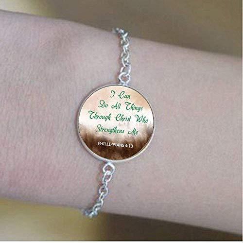 """Armband mit englischsprachigem Zitat\""""Phllippians 4:13\"""", christliches Geschenk, inspiriert von\""""I Can Do All Things\"""""""