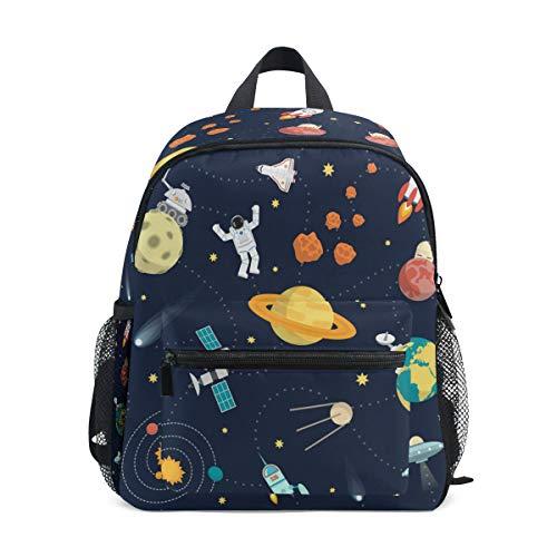 Cute Space Universe Planet Adventure Kid's Toddler Backpack Schoolbag for Boys Girls,Kindergarten Children Bag Preschool Nursery Travel Bag with Chest Clip