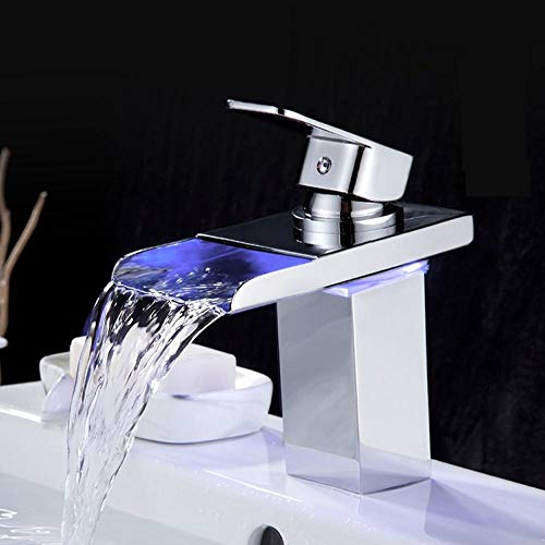 Badkamer wastafel spot waterval waterkraan van koper compleet licht LED badmeubel wastafel waterkraan koud en warm water