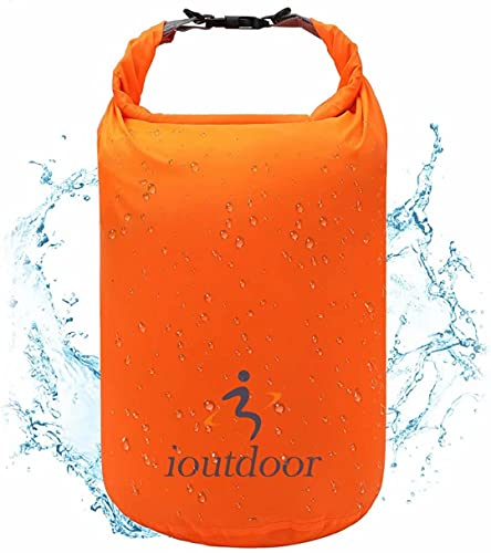 iOutdoor Products Bolsa Seca Impermeable Ligera - Sacos De Compresión Con Tapa Enrollable Para Kayak, Playa, Rafting, Canotaje, Senderismo, Natación, Camping [Naranja - 20L]