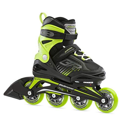 Bladerunner by Rollerblade Phoenix Boys Adjustable Fitness Inline Skate, Black and Green, Junior, Value Performance Inline Skates, 2-6