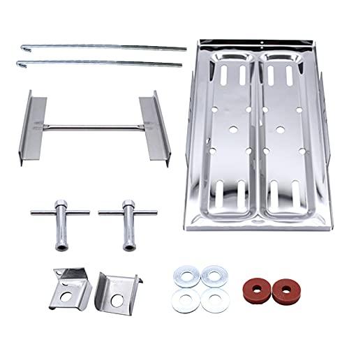 MERIGLARE Cubierta de la bandeja de la batería, soporte pulido de la bandeja de la batería, soporte de la abrazadera de sujeción, kit de sujeción, 7 1/2 x 13