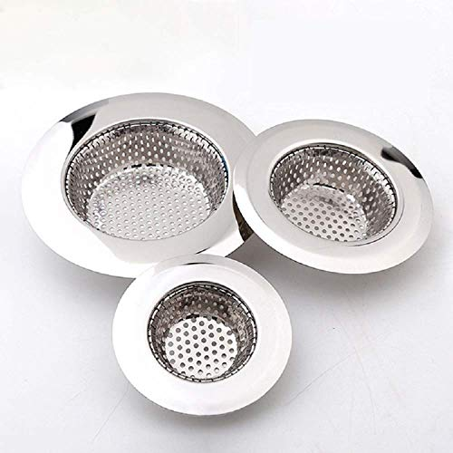Drain Hair Catcher(3 Pack), Shower Drain Cover for Bathtub, Kitchen Sink Strainer, Stainless Steel Bathroom Sink, Drain Stopper with Different Sizes from 1.5