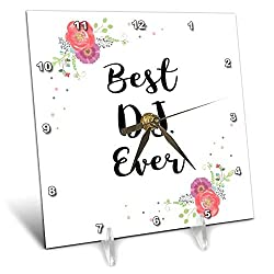 3dRose InspirationzStore - Love Series - Floral Best DJ Ever Watercolor Pink Flowers Girl disc Jockey Job Work - 6x6 Desk Clock (dc_317254_1)