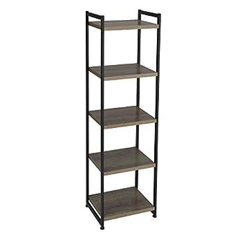 Household Essentials 5 Tier Storage Tower Metal Grey Shelf – Black Frame Ashwood