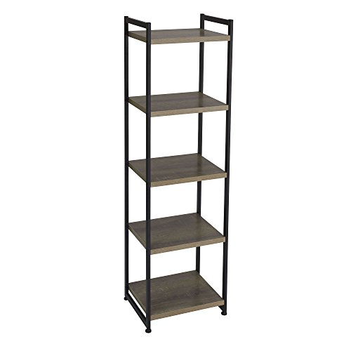 Household Essentials 5 Tier Storage Tower Metal, Grey Shelf – Black Frame, Ashwood