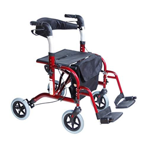 Andadera Rollator Plegoo Travel de Aluminio con Descansapies, Plegable, R8' - Rojo