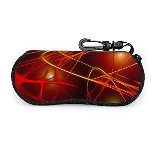 Wave Light Lights - Juego de protectores de gafas de movimiento para viajes, con cremallera de neopreno suave, funda para gafas con cremallera y gancho para cinturón