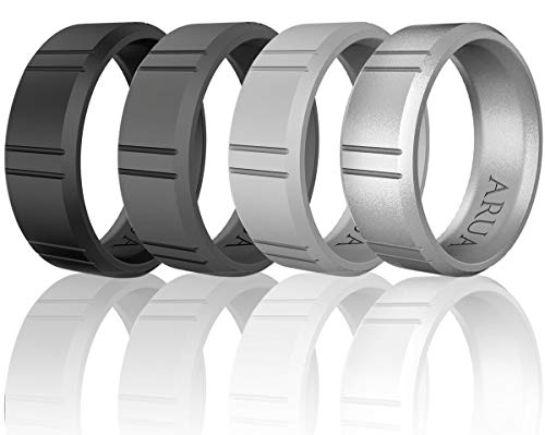 Arua Silicone Wedding Ring for Men - 4 Pack. Silicone Rubber Wedding Bands - Black, Grey, Silver, Charcoal Grey