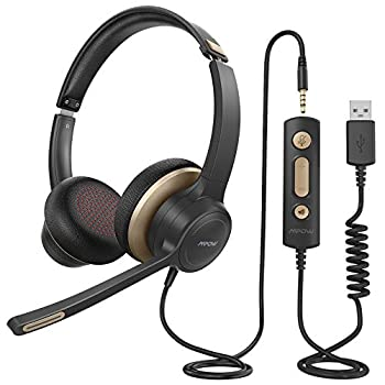 Mpow HC6 USB Headset with Microphone Comfort-fit Office Computer Headphone On-Ear 3.5mm Jack Call Center Headset for Cell Phone 270 Degree Boom Mic in-line Control with Mute for Skype Webinar