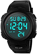 eYotto Mens Digital Sports Watch Large Face Backlight Seconds Display Military Watch Time Alarm Chronograph Waterproof Luminous Stopwatch Black