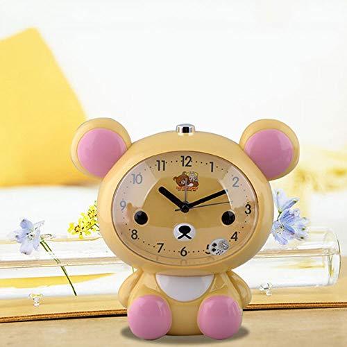 Qaaqiy Oso lindo de la historieta de alarma del reloj despertador de alto volumen inicial de los niños Alarma de reloj luminoso de la...