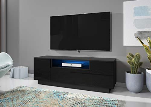 3xeLiving Mesa de TV Moderna única Apiks Negro / Negro Brillante 125 cm