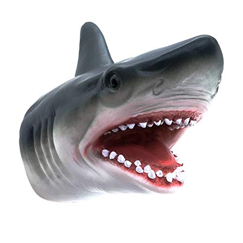 Tecesy Shark Hand Puppet Toys, Shark Puppets Role Play Toy , Soft Rubber Realistic Sea Animal Shark Head 7 inch