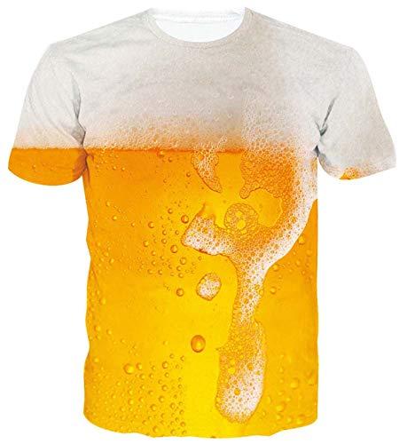 ALISISTER Neuheit Grafik T Shirts Herren Damen Lustig 3D Bier Muster Kurzarm Tshirts Sommer Beiläufig Party Strand Hawaii Tshirt XL