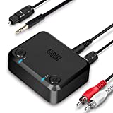 August MR270 Transmisor Bluetooth para TV PC, con Óptico / 3.5mm / RCA - Adaptador de Audio Inalámbrico aptX de Baja Latencia para 2 Auriculares o Altavoz