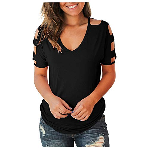 Bluse Damen T Shirt Sommer Elegant Frauen Top Damenblusen Kurzarm Tunika V-Ausschnitt Kalte Schulter T Shirts