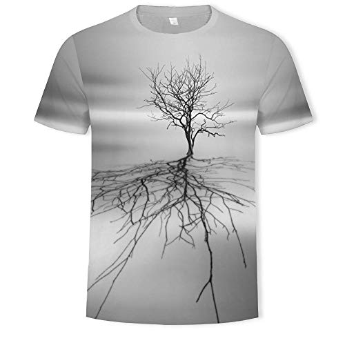 Unisex T-Shirt Men's T-Shirt 3D Dry Land Dry Tree Print Men's Short-Sleeved...