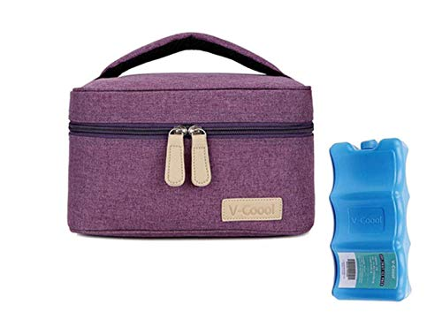 Breastmilk Cooler with Ice Pack Healthy Baby Daycare Set - Keep Food Warm or Cool for Go Out Lunch Bag-Large Capacity Storage for 6 Breastmilk Bottles in 5oz Bottle Tote Bags,Purple