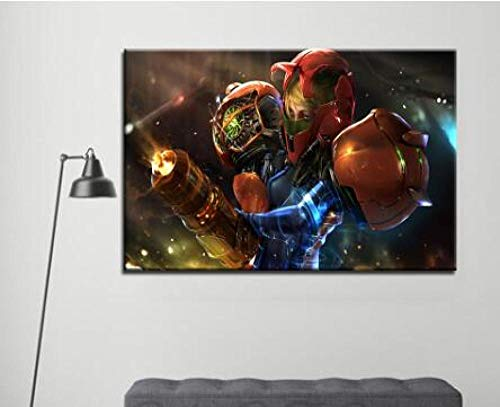 WLHZNB canvasdruk hoofddecoratieaffiche 1 Pc Hd druk Metroid Anime Games Modulaire canvasschilderij (maat 1) met frame.