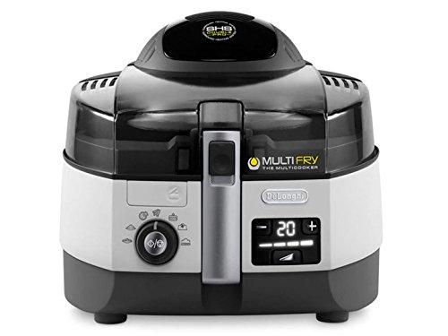 De'Longhi MultiFry Extra Chef FH1394 Heißluftfritteuse, Multicooker mit 1,7 kg Fassungsvermögen, 7 Kochprogramme, Umluftsystem mit 2 Heizelementen, Rezepte-App, 2300 Watt, grau/weiß