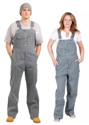 Key Industries - Premium-Latzhose - Hickory-Streifen arbeithosen Damen Männer Je KEY03-48W-32L