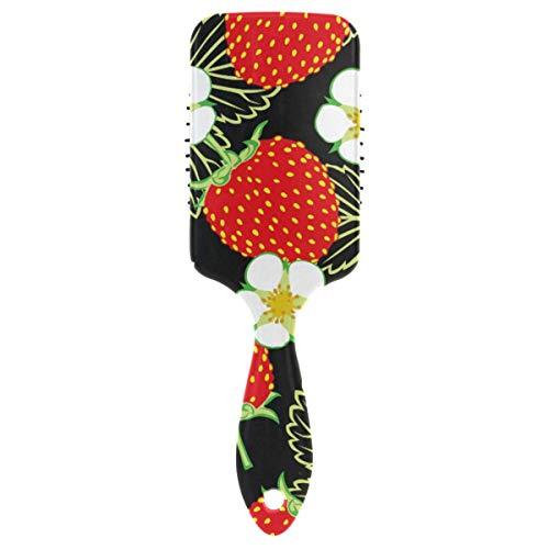 Cepillo de pelo con estampado de hojas de flor de fresa, peine de cojín de aire, alfileres de nailon suave de plástico, paleta de cepillo antiestático para mujeres, niñas, señoras