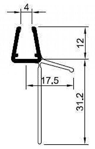 Universal Wasserabweisprofil Typ FLORI, gerade, 1000 mm lang, für 6 + 8 mm Glasstärke