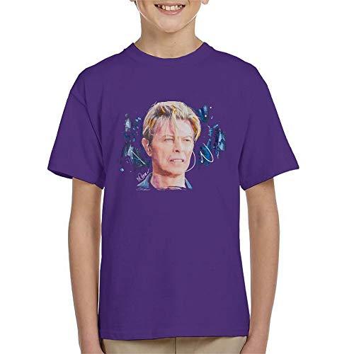 VINTRO David Bowie Live - Camiseta de manga corta para nios con estampado de Sidney Maurer Morado Morado ( 9-11 Aos