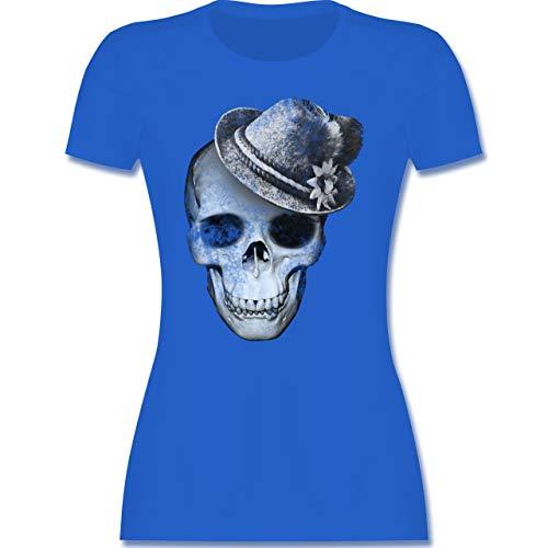 Oktoberfest & Wiesn Damen - Totenkopf mit Filzhut - S - Royalblau - trachtenshirt Damen XXL - L191 - Tailliertes Tshirt für Damen und Frauen T-Shirt
