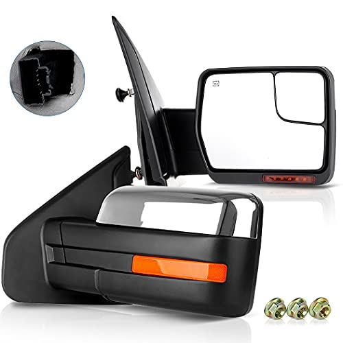 ECCPP Pair Set Replacement fit for Ford for F-150 2007-2014 Chrome Towing Mirror...
