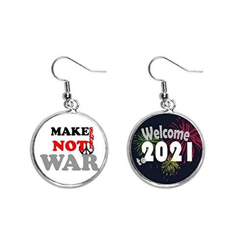 Make Sense Not War Love Peace World Ear Colgantes Pendientes Joyería 2021 Bendición