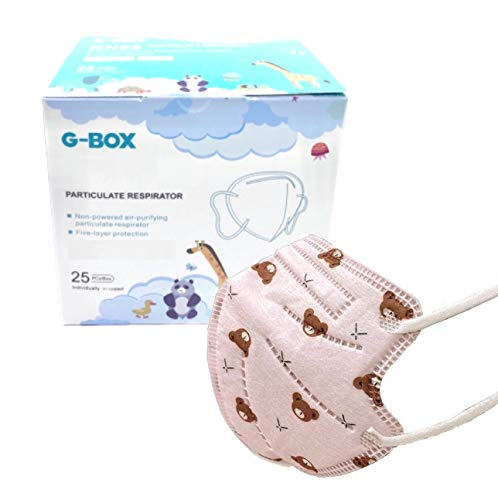 G-Box Children's Non-Powered Particulate Respirator (25-pcs, Individually Wrapped) (Pink Teddy Bear)