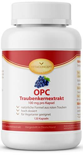 OPC Traubenkernextrakt Kapseln - hochdosiertes, reines OPC, 120 vegane Kapseln - 100{d45f4588a7a6b57f3930e385ce92c499e3bac2129cb2e11b8944343479b2d8c1} natürliches Antioxidans - Premiumqualität Made in Germany - VITACONCEPT