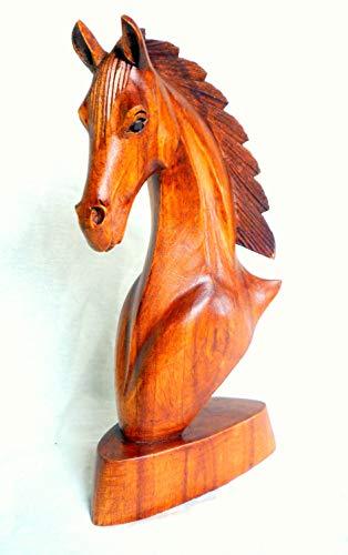 Caballo Busto Cabeza de caballo caballo escultura de madera figura madera tallada a mano 20x 18x 10cm