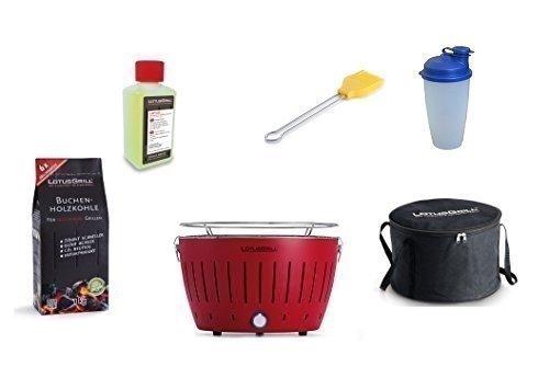 LotusGrill Barbecue Kit de démarrage 1x Lotus Barbecue Charbon de Bois de hêtre Feu Rouge, 1x 1kg, 1x Pâte Combustible 200ml, 1x Pinceau maïs Jaune, 1x Shaker à Vinaigrette, 1x Sac de Transport